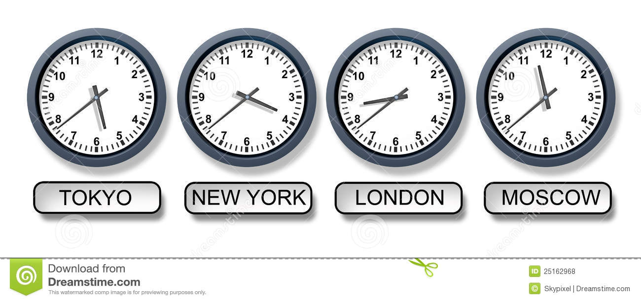 International Time Zones Clocks Around World Global Travel Stock.