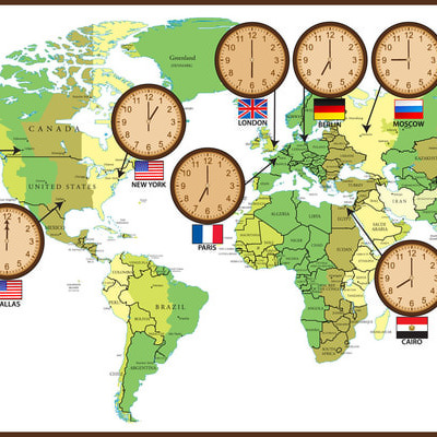 Clip Art Of A World Time Zones Graphic.