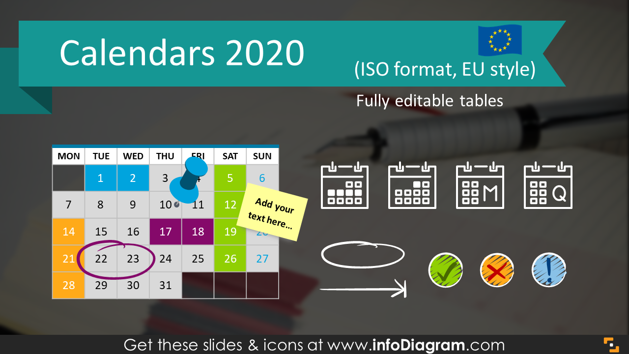 Creative Calendars 2020 PowerPoint Timeline Graphics PPT tables icons.