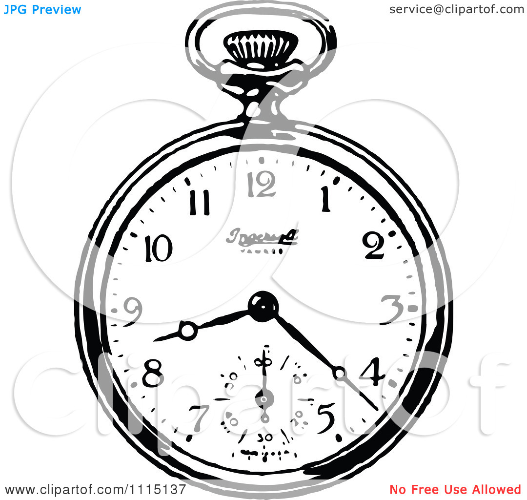 Clipart Vintage Black And White Pocket Watch 3.