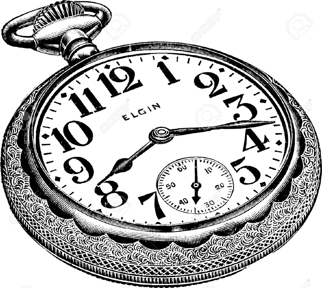 An Antique Engraved Illustration Of A Pocket Watch Isolated On.