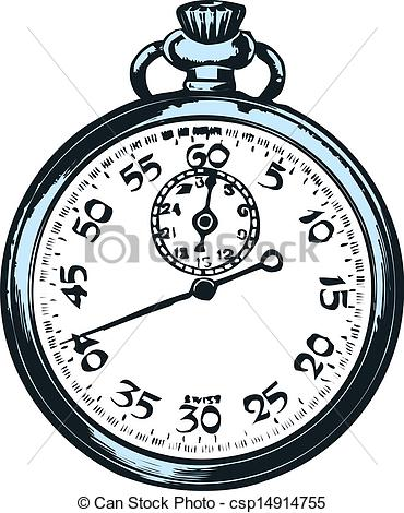 Clipart Vector of Pocket watch on white background..