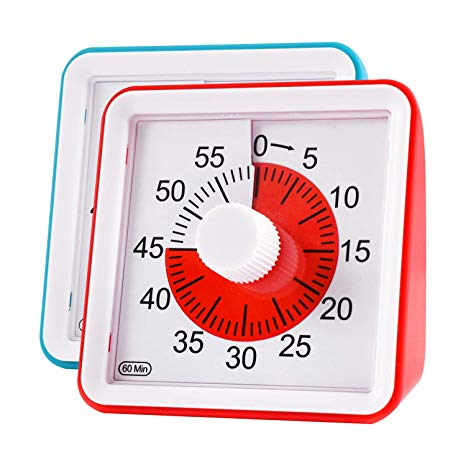 Visual Timer, Supkiir 60 minute Countdown Clock, Time Management Tool for  Meeting Cooking Teaching Classroom Games for Teachers, Silent Analog Timer.
