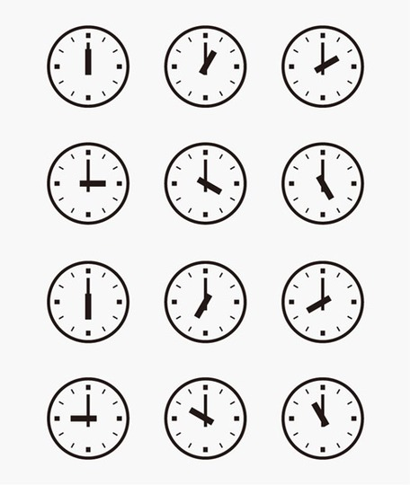 Set of Wall Clocks With Another Times, Clip Arts.