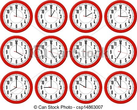 Vector Clipart of red clocks times.