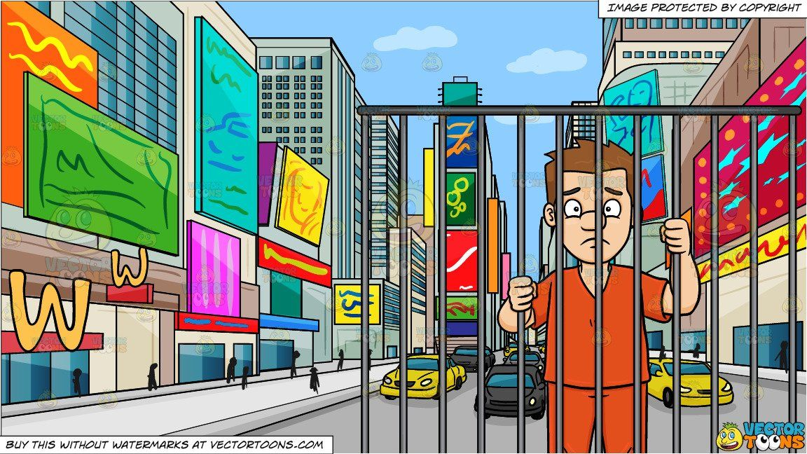 clipart #cartoon A Scared Man Behind Bars and New York Times.