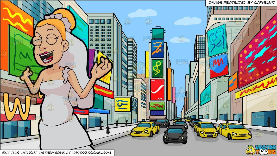 clipart #cartoon An Ecstatic Bride and New York Times Square.