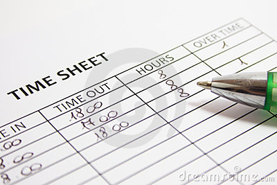 Filling The Weekly Time Sheet Stock Photo.