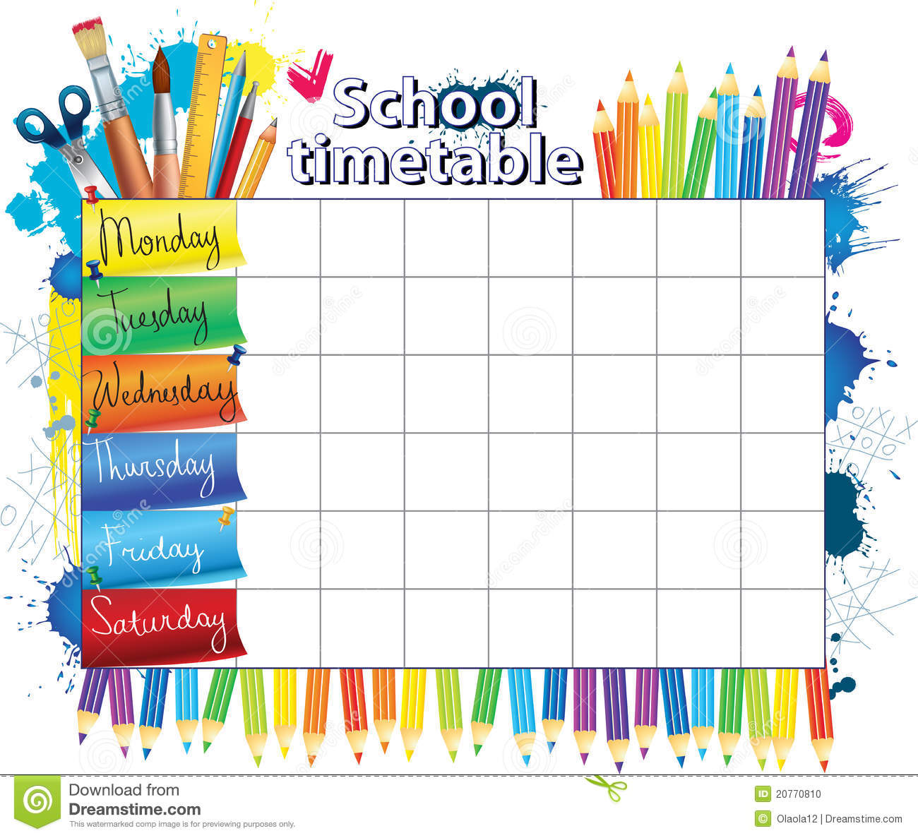 School timetable clipart.