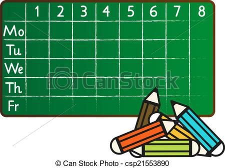 EPS Vectors of School timetable in greenboard (blackboard) style.