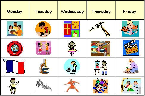 Visual Timetable Clipart.
