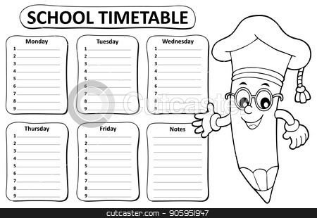 Black and white school timetable topic 1 stock vector.