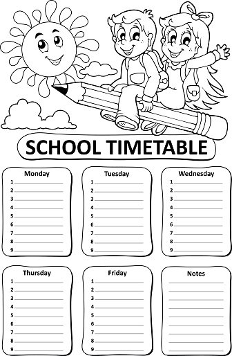 Black and White School Timetable Theme 7 stock vectors and.
