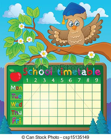 Clipart Vector of School timetable theme image 7.