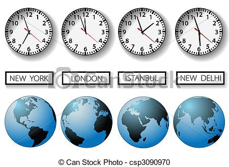 Vector Clipart of World city time zone clocks and globes.