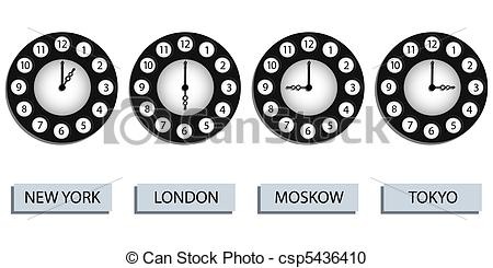 Vector Clipart of time zone clocks for four different countries.