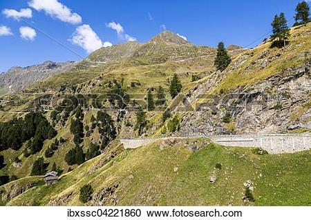 Stock Photography of Mountain pass road, mountain pass Timmelsjoch.