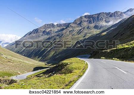 Stock Photo of Mountain pass road, Timmelsjoch, Passo del Rombo.