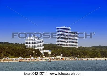 Stock Photo of Baltic Sea beach and the Hotel Maritim.