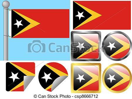 Vector Illustration of Flag Set Timor.