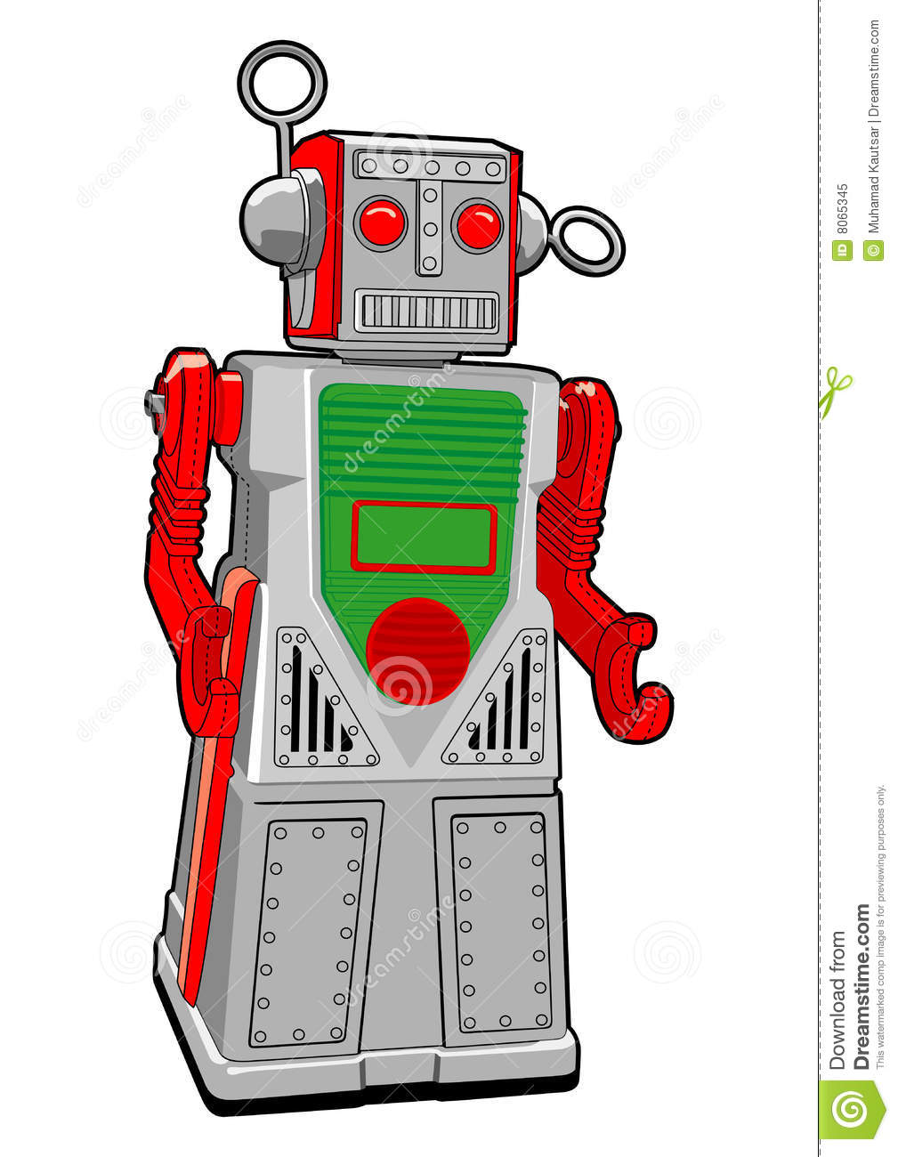 Tin Toy Robot In Vector Royalty Free Stock Photo.