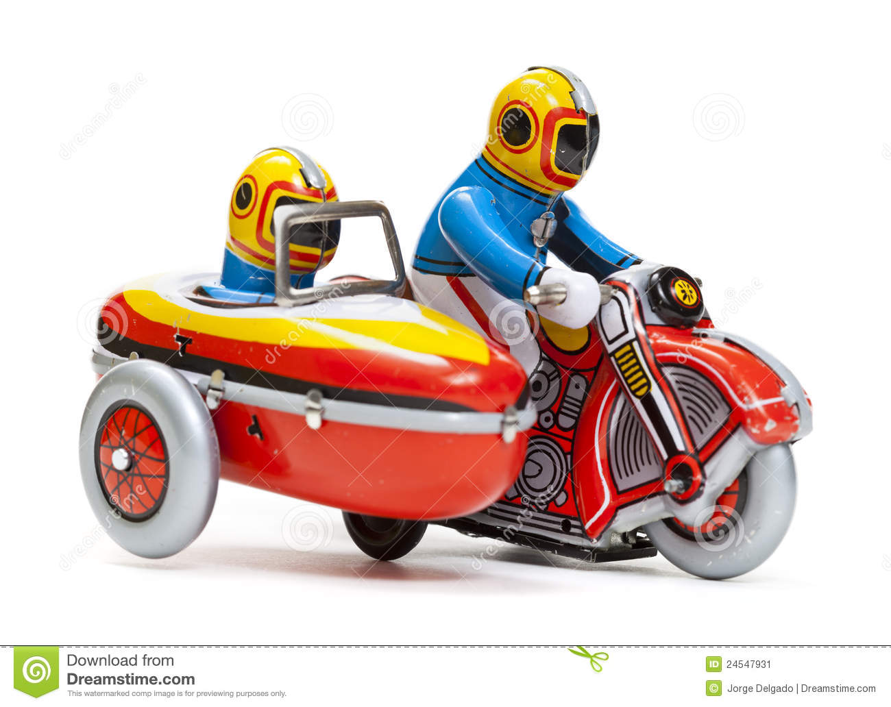 Tin Toy Sidecar Motorcycle Stock Image.