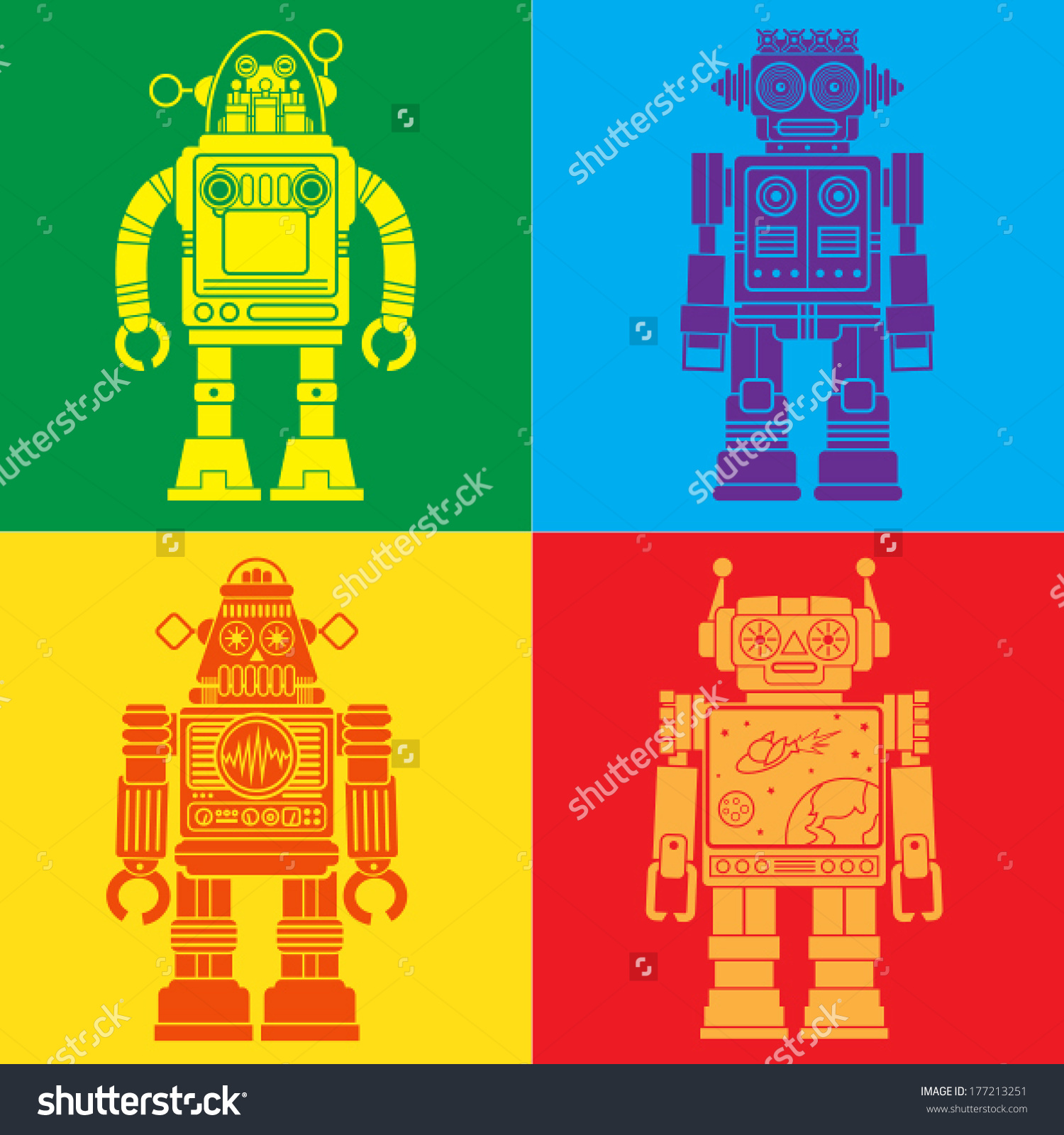 Vintage Tin Toy Robots Pop Art Stock Vector 177213251.