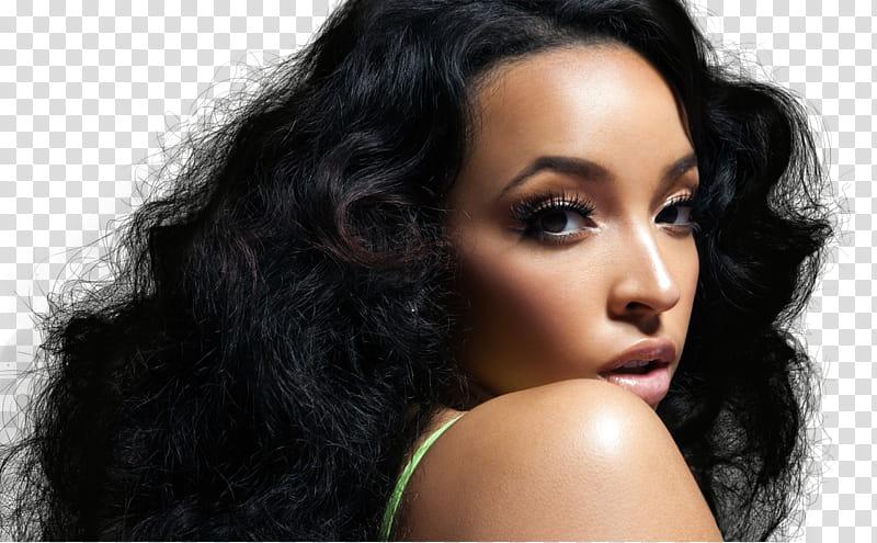 Tinashe, women\'s green top transparent background PNG.