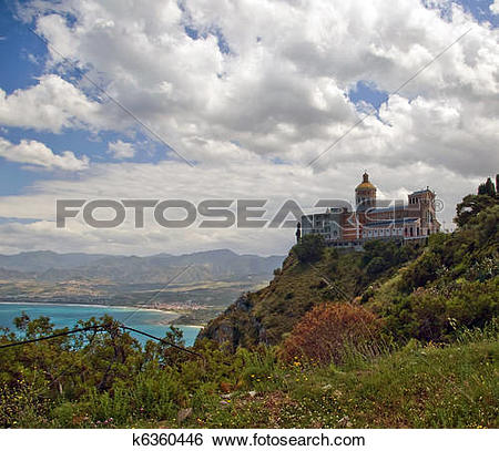 Stock Images of Shrine of Our Lady and Tindari gulf, Sicily, Italy.