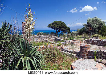 Stock Photography of Archaeological ruins, Tindari, Sicily.