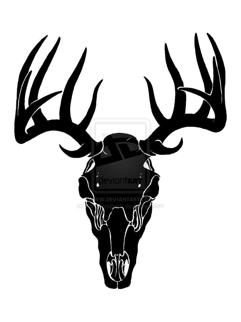 Deer Skull Decal Drop Tine.