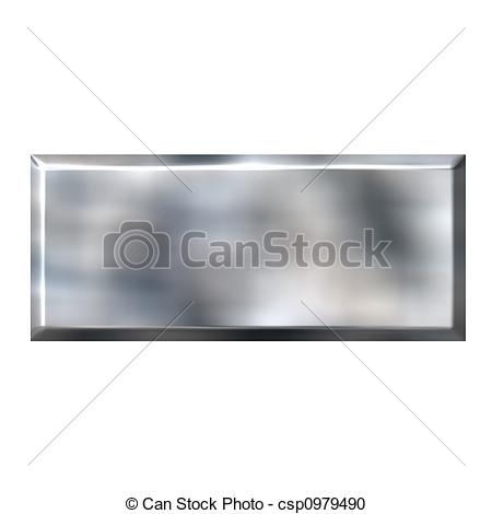 Stock Illustration of 3D Tin Foil Square Button.