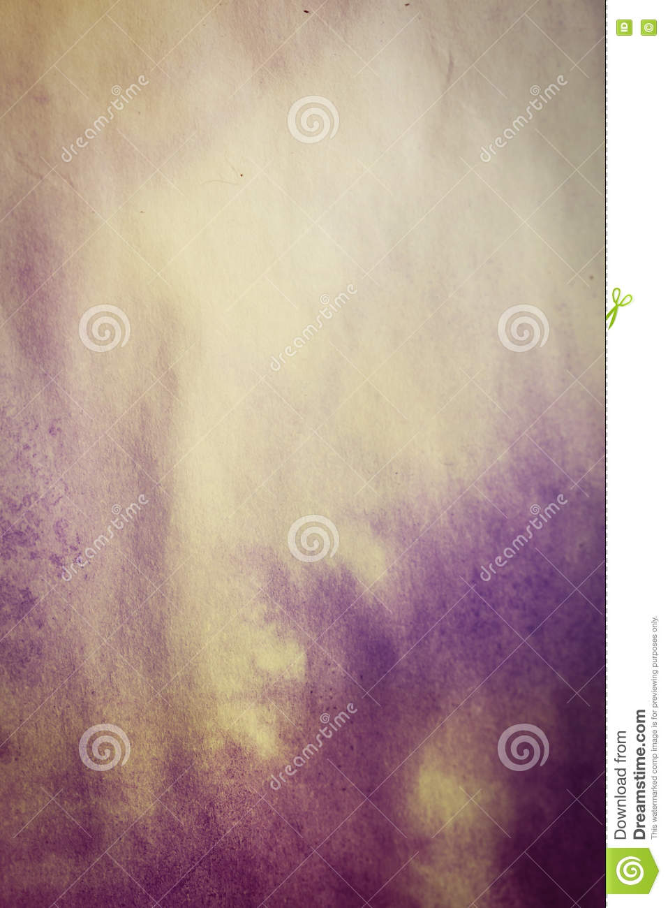 Purple Spreads Ink On White Wrinkled Paper With A Yellow Tinge.
