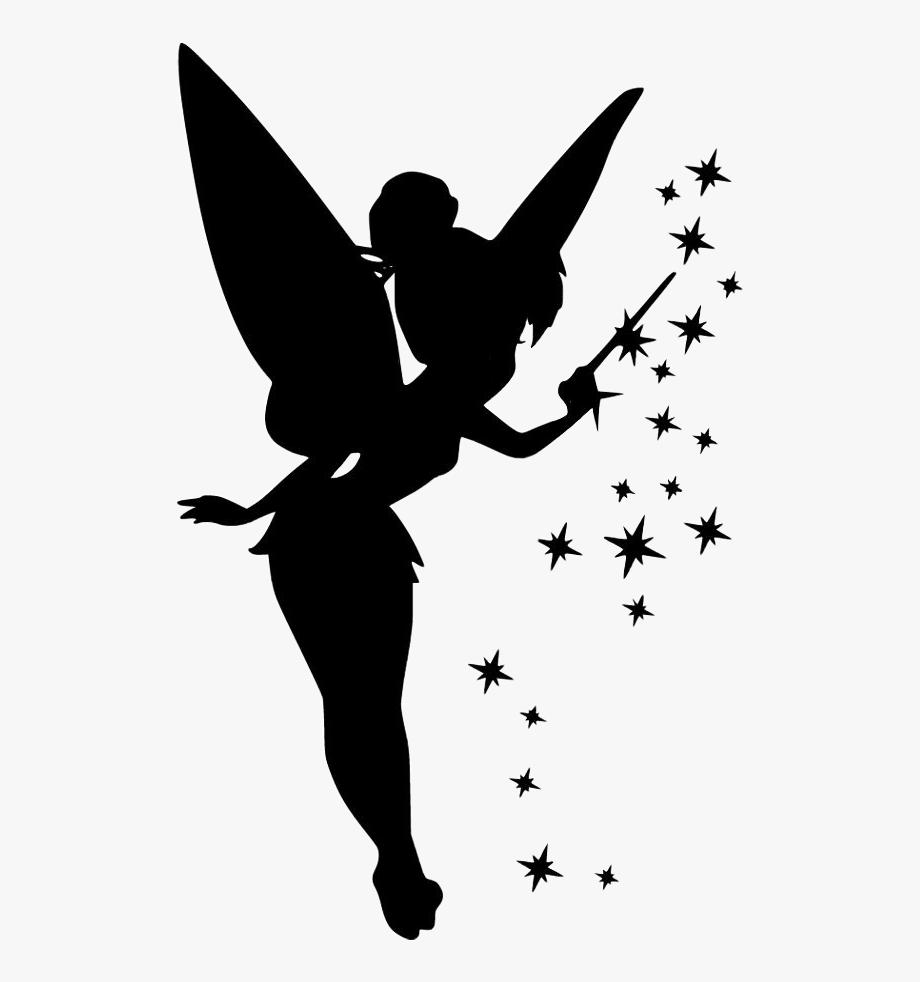 sticker #fairy #tinkerbell #stars #wand #wings #shilouette.