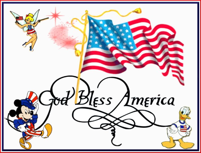 Happy 4th of July tinkerbell, donald, mickey.