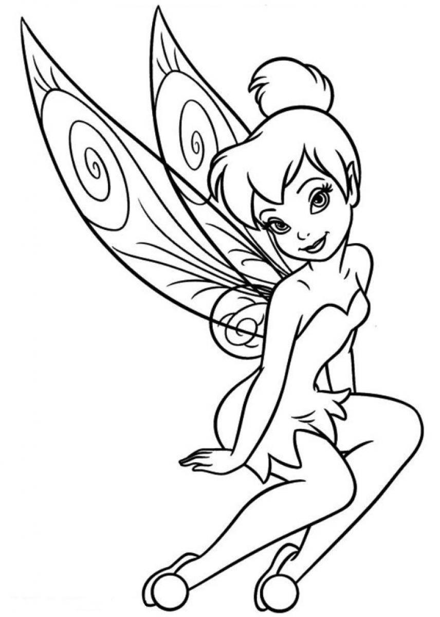 Download tinkerbell coloring pages clipart Tinker Bell.