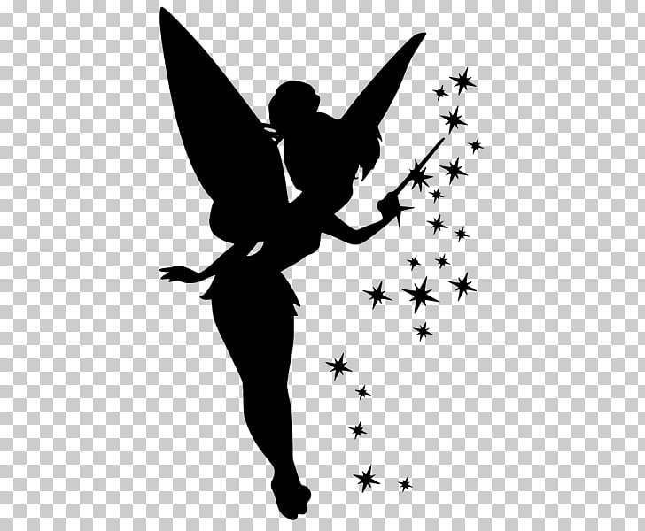 Tinker Bell Silhouette Peter Pan Pixie dust, Silhouette PNG.