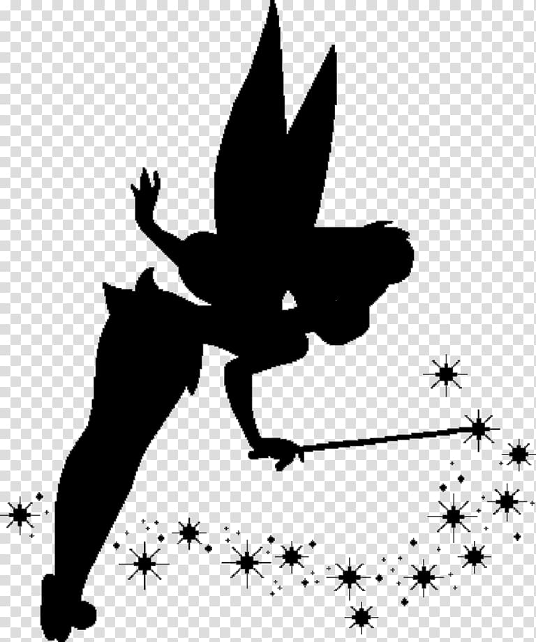 Disney silhouette of Tinkerbell art, Tinker Bell Peter Pan.
