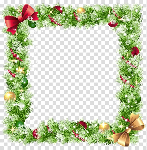 Green and red tinsel illustration, Square Christmas border.