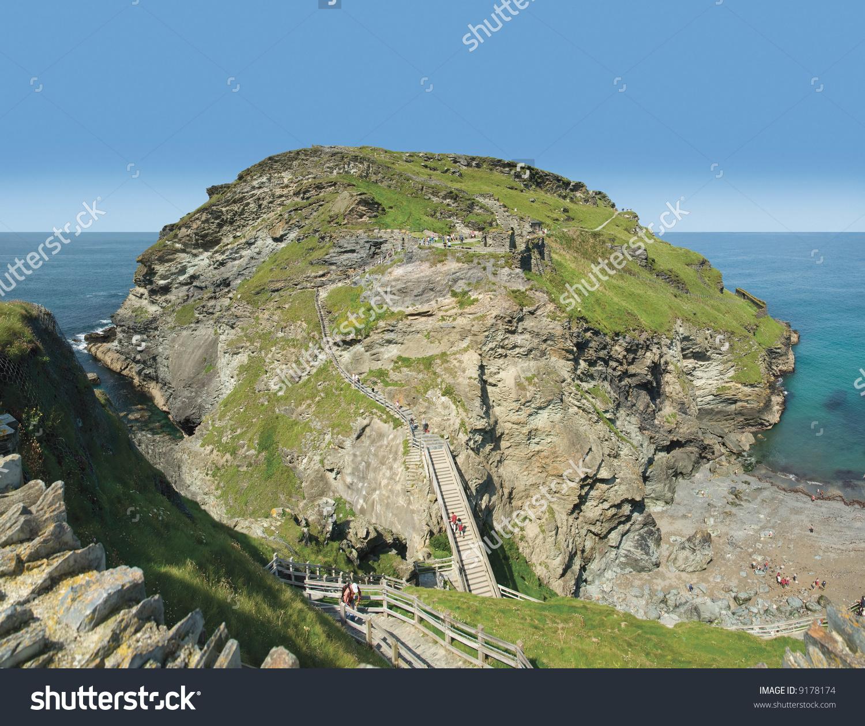 Tintagel Castle The Cornish Coast Cornwall England Uk Stock Photo.