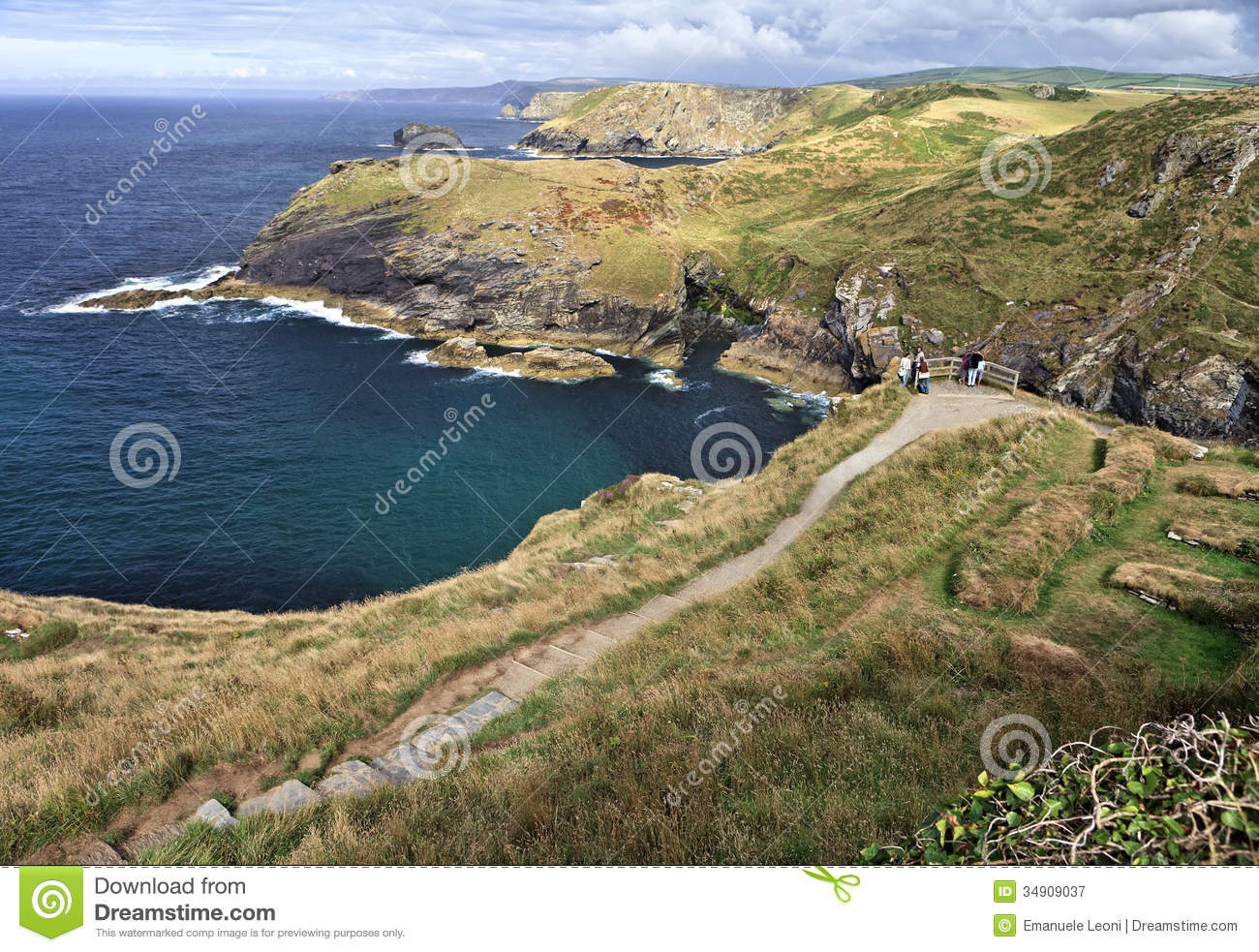 Path To Tintagel Castle Cornwall England Medieval Fortification On.