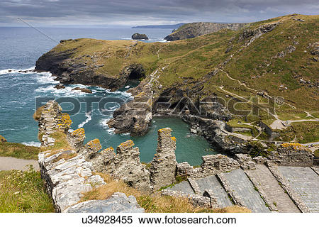 Stock Image of England, Cornwall, Tintagel. Tintagel Castle on the.