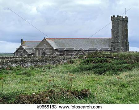 Stock Photo of Old church in Tintagel k9655183.