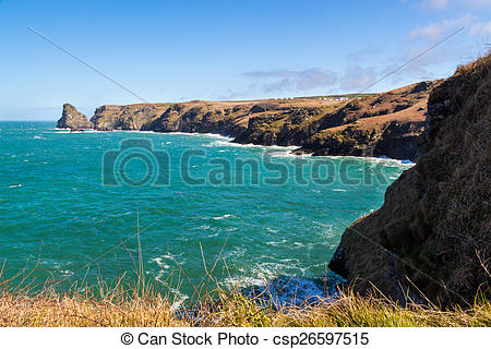 Stock Photography of Bossiney Cove Tintagel Cornwall.
