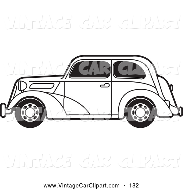 Clipart of a Old Fashioned Black and White Vintage Ford Car with.