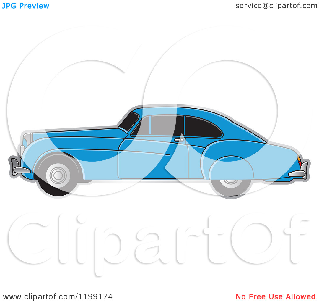 Clipart of a Blue Vintage Bently Car with Tinted Windows.