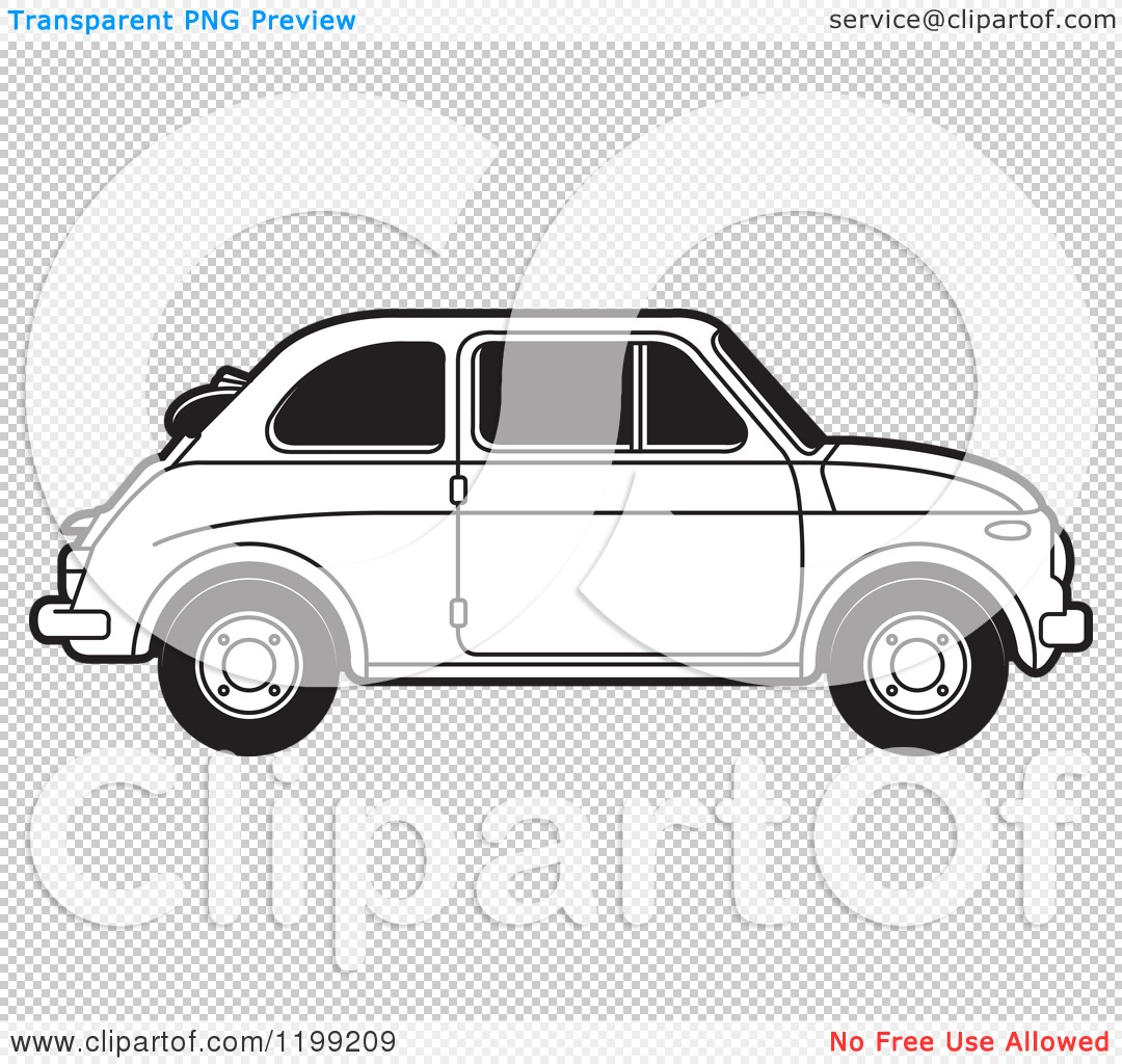 Clipart of a Vintage Black and White Fiat Car with Tinted Windows.