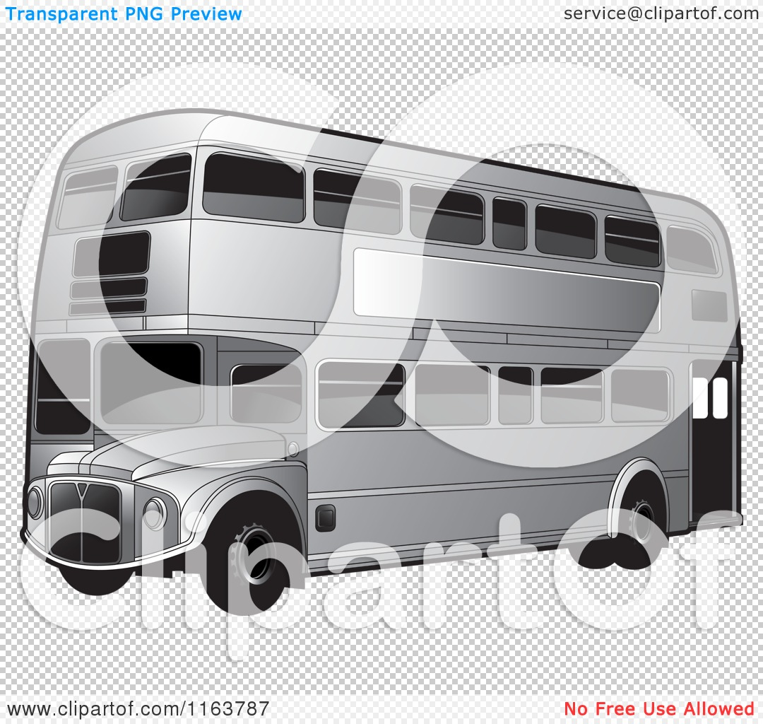 Clipart of a Silver Double Decker Bus with Tinted Windows.