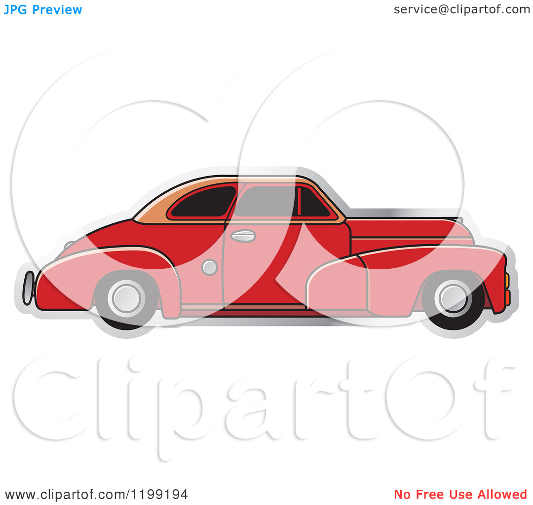 Clipart of a Vintage Red Chevrolet Car with Tinted Windows.