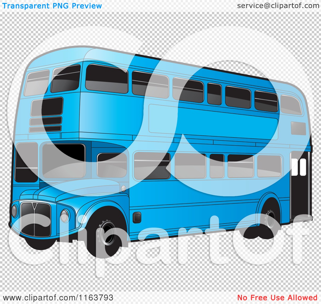 Clipart of a Blue Double Decker Bus with Tinted Windows.